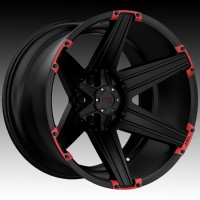Литые диски Tuff A.T. T12 Satin Black w/Red Inserts